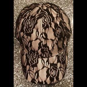 Accessories - B&W Lace Baseball Hat